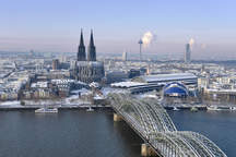 Cologne with cathedral and Eventlocations on the Rhine