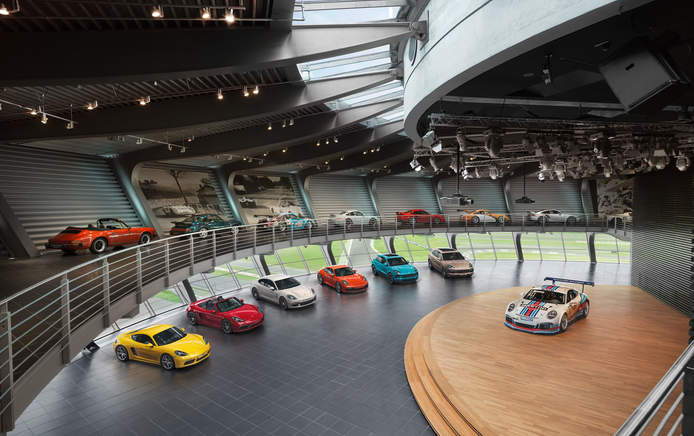 Porsche Auditorium with Porsche model range
